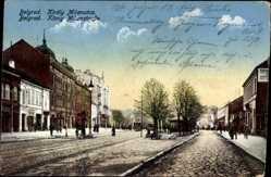 Postcard Belgrad Serbien, König Milanstraße, Passanten, Gebäude