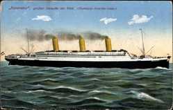Postcard Dampfschiff Imperator, HAPAG, Größter Dampfer der Welt