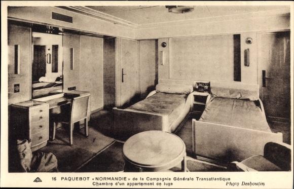 Ansichtskarte / Postkarte Paquebot Normandie, Chambre | akpool.de