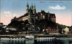 Ansichtskarte / Postkarte Meißen in Sachsen, Blick auf die Albrechtsburg und Dom, Dampfer König Georg