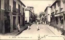Postcard Sétif Algerien, Rue Saint Augustin, Straßenpartie, Levy & Fils L.L.