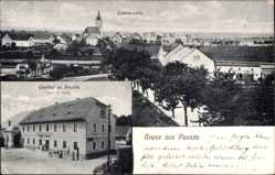 Postcard Pausitz Riesa, Stadtpanorama, Gasthof, Inh. O. Hettig, Straßen, Bäume