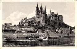 Ansichtskarte / Postkarte Meißen in Sachsen, Dampfer Bad Schandau, Albrechtsburg, Dom