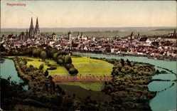 Postcard Regensburg an der Donau Oberpfalz, Panoramablick auf die Stadt