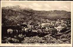 Postcard Cetinje Montenegro, Blick auf und den Ort und Lovcen, Gebirge