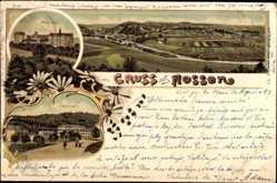 Litho Nossen Landkreis Meißen, Seminar, Schloss, Panorama der Stadt