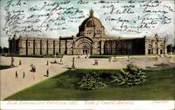 Postcard Dublin Irland, Irish International Exhibition 1907, Central Building