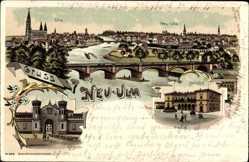 Litho Neu Ulm in Schwaben, Friedenskaserne, Bahnhof, Totalansicht