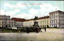Postcard Mannheim in Baden Württemberg, Großherzogliches Schloss, Reiterdenkmal