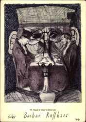 Künstler Ak Janssen, Horst, Daumier, überzeichnet, Quand le crime ne donne pas