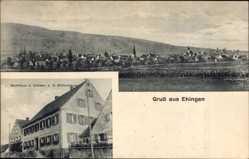 Postcard Ehingen, Gasthaus zum Ochsen, K. Mittermeyer, Blick auf den Ort, Kirchturm