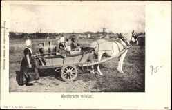 Ak Niederlande, Walchersche melkkar, Milchmädchen, Pferdewagen