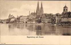 Postcard Regensburg an der Donau Oberpfalz, Partie an der Donau mit Dom St Peter