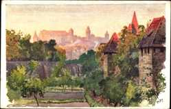 Künstler Ak Kley, Heinrich, Nürnberg, Blick vom Spittlertorgraben