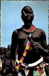 Ansichtskarte / Postkarte Fort Archambault Tchad, Danseuse Sara, Afrikanische Tänzerin, Barbusig