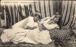 Ansichtskarte / Postkarte Maghreb, Scènes et Types, Mauresques Couchées, Barbusig