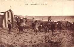 Ak Plage du Bois, Ile de Re, Kinder in Badekleidung am Strand, Strandzelt