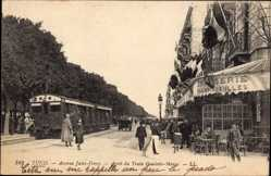 Postcard Tunis Tunesien, Avenue Jules Ferry, Arrêt du Train Goulette Marsa, Tram