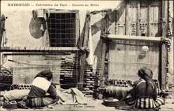 Ak Kairouan Tunesien, Fabrication des Tapis, Femmes au Métier