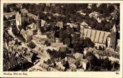 Postcard Nürnberg in Mittelfranken, Fliegeraufnahme von Stadt und Burg