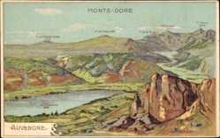 Künstler Landkarten Ak Taillandier, Auvergne, Monts Dore, Lac Chambon