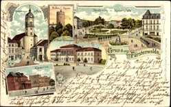 Litho Fürstenwalde an der Spree, Kaiserplatz, Gymnasium, Kaserne, Bullenturm