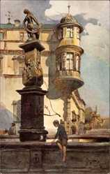 Künstler Ak Wiegk, Coburg Oberfranken, Brunnen in Steingasse, Schloss Ehrenburg