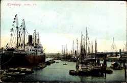 Postcard Hamburg, Blick in den Hafen, Dampfschiff Pennsylvania, HAPAG