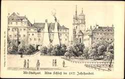 Künstler Ak Bach, Stuttgart Baden Württemberg, Altes Schloss im 18. Jahrhundert