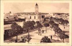 Postcard Tunis Tunesien, Place Bab Souika, Blick auf einen Platz, Häuser