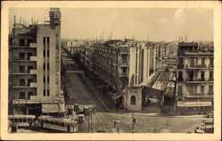 Postcard Tunis Tunesien, Place Anatole France et Avenue de Paris, Straßenbahn
