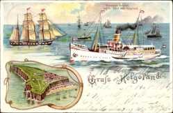 Litho Helgoland in Schleswig Holstein, Dampfer Prinzessin Heinrich, HAPAG