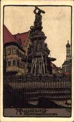 Steindruck Ak Augsburg in Schwaben, Ansicht vom Herkulesbrunnen