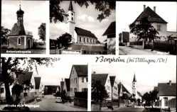 Postcard Bergheim Mödingen Schwaben, Antoniuskapelle, Pfarrkirche, Straßen