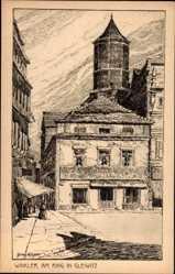 Künstler Ak Winkler, Grete, Gliwice Gleiwitz Schlesien, Am Ring, Turm
