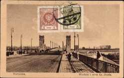 Postcard Warszawa Warschau Polen, Wiadukt i most Ks. Jozefa, Brücke