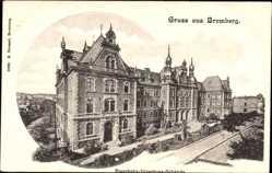 Ak Bydgoszcz Bromberg Westpreußen, Eisenbahn Direktionsgebäude