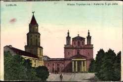 Postcard Lublin Polen, Wieza Trynitarska i Katedra Swietego Jana