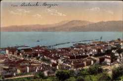 Postcard Rijeka Fiume Kroatien, Blick auf den Ort, Meer, Berge, Häuser