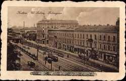 Postcard Kraków Krakau Polen, Blick in die Lubicagasse, Straßenbahn, Geschäfte