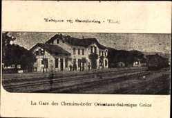 Postcard Saloniki Griechenland, La Gare des Chemins de Fer, Bahnhof