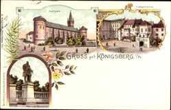 Litho Chojna Königsberg Neumark Ostbrandenburg, Schloss, Hauptwache, Denkmal