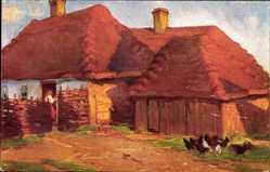 Künstler Ak Janowska, B. R., Zagroda wiejska, Bauernhaus, Hühner
