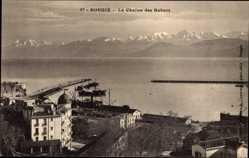 Postcard Bougie Bejaia Algerien, La Chaine des Babors, Gebirge, Hafen