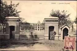 Ak Tunis Tunesien, Quartier Forgemol, Toransicht, Zaun, Kaserne