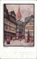 Künstler Ak Beckert, Fritz, Frankfurt am Main, Marktplatz, Denkmal, Kirchturm