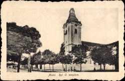 Postcard Mako Ungarn, Ref. O. templom, Blick auf eine Kirche, Uhrturm