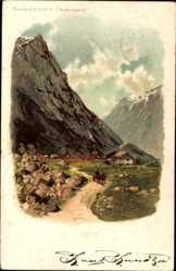 Litho Norwegen, Romsdalhorn, Bergmassiv, Siedlung im Tal