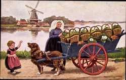 Künstler Ak Hundekarren, Frau in Tracht, Windmühle, Körbe mit Gemüse