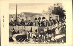 Postcard Rabat Marokko, Dans la Chaloupe Royale le sultan traverse l'Oued